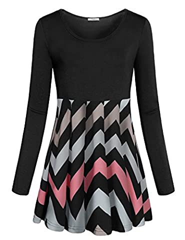 Tunics for Women,Cestyle Ladies Long Sleeve Round Neck Color Block Empire Waist Tops Casual Zig-zag Print Flowy A Line Flares Hem Short Skater Dress Fall Shirts for Leggings Black - Maternity Print Tunic