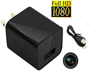 Full 1080P HD Hidden Spy Cameras Real USB Wall Charger Adapter Hidden Camera + 8GB Memory / Nanny Hidden Cam Audio + Video Loop the Latest Update Version Spy Cameras Support Up To 32GB By Fifi SpyCam