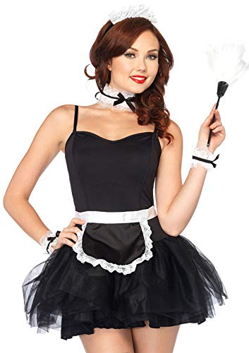 Leg Avenue Women's 4pc.French Maid kit,Apron, Neck Piece, Wrist Cuffs, and Headband, French Black/White, One Size