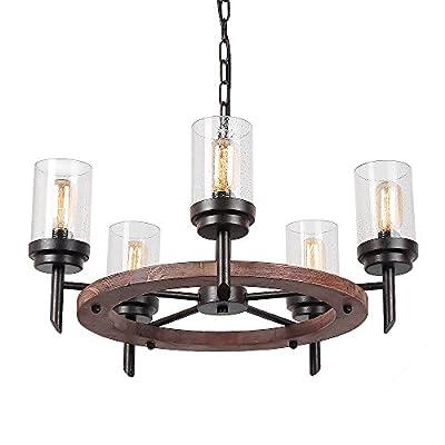 Eumyviv Metal Wood Chandelier Pendant Light Retro Rustic Loft Antique Lamp Edison Vintage Decorative Light Fixtures and Ceiling Light Luminaire