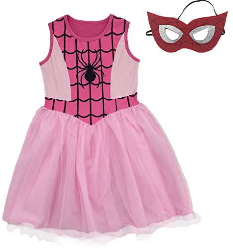 AmyStylish Little Girls Spider-Girl Cosplay Dress up Costume with Mask,Pink,5-6 -