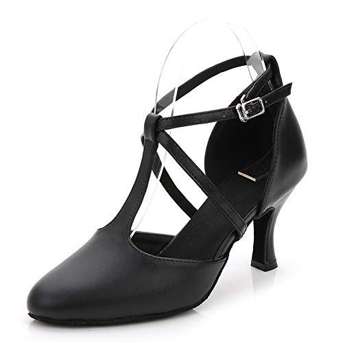Hutt Zapatillas de Baile Mujer Cuero Adulto Tamaño 22.5cm a 25.0cm Altura 6cm Negro + Vino Rojo Verano Zapatillas de Baile Latinas Suaves Negro