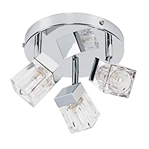 Modern Chrome Ice Cube 3 Way IP44 Rated Bathroom Ceiling Light Spotlight