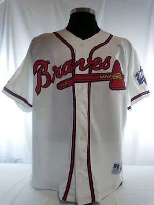Atlanta Braves Vintage Authentic Russell Home Jersey w/ 1999 World Series Patch (Atlanta Home Store)