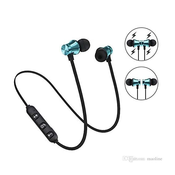 esuav Upgrade Wireless Bluetooth Headset Magnet Earphone with Hand-Free Calling, Bulit-in-Mic, Extra Bass Stero, Lightweight and Sweatproof Prefect for Gym, Running(Multicolored)