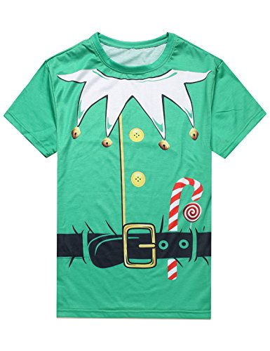 MRZONE Christmas Santa Claus Elf Costume Men's T-Shirtt (2XL) - Mens Naughty Elf Costume