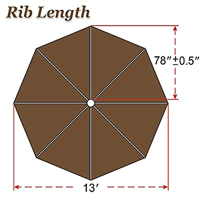 Strong Camel Replacement Patio Umbrella Canopy Cover for 13ft 8 Ribs Umbrella Taupe (Canopy ONLY)-Brown : Garden & Outdoor