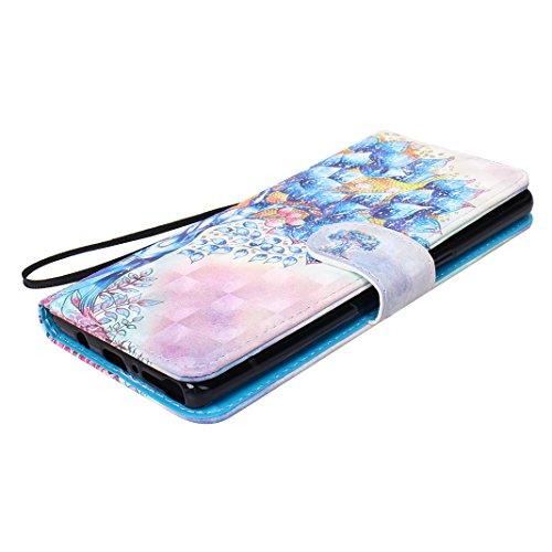 Galaxy Note 8 Protectora Funda, Galaxy Note8 Carcasas, Moon mood® 3D Pintado PU Cuero Suave TPU Interior Fundas con Tapa Protector Caso Cubierta Galaxy Note 8 6.3 pulgadas con Acollador Billetera Tarj Color 7