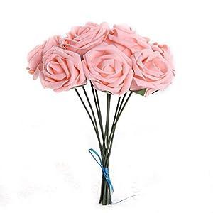 10x Artificial Flower Foam Rose Wedding Bridesmaid Bridal Bouquet Party Decor Pink&5.5Cm 85