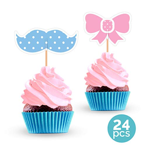 Gender Reveal Cupcake Toppers - Mustache and Bow Baby Shower Decorations Supplies - 24 PCS]()