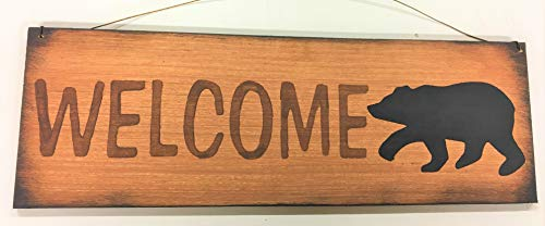 Black Bear Welcome Home Decor Wood Wooden Wall Art Sign Cabin Lodge Lake Camper Theme