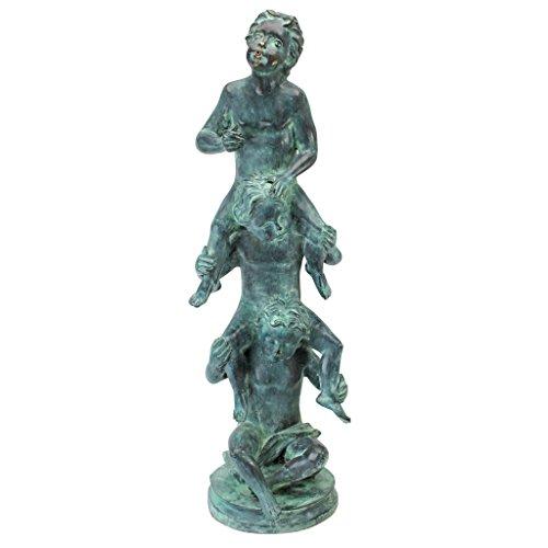 (Design Toscano Child's Play Stacked Children Spitting Bronze Garden Statue: Large)