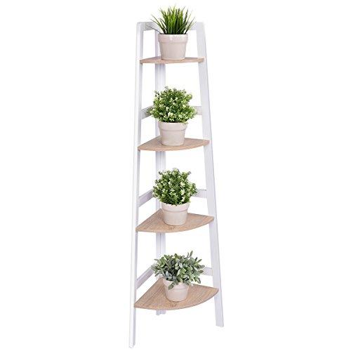 Costway 3 4 Tier Wooden Corner Rack Ladder Shelf Storage