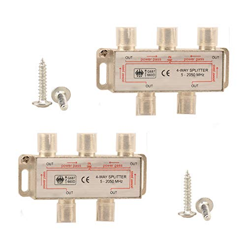 4-Way F-Type RF Coax Cable Splitter Coaxial Cable TV Antenna Satellite 5-2050MHz 2 Pack ()