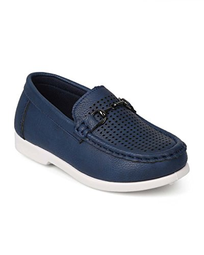 JELLYBEANS Leatherette Round Toe Perforated Chain Slip On Loafer (Toddler) EJ47 - Navy (Size: Toddler 5) by JELLYBEANS