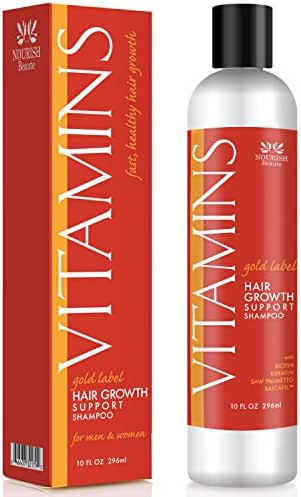 Nourish Beaute Vitamins Premium Shampoo for Hair Loss that Promotes Hair Regrowth, Volume and Thickening with Biotin, DHT Blockers, Antioxidants and Oils, For Men and Women, 1 10 Ounce