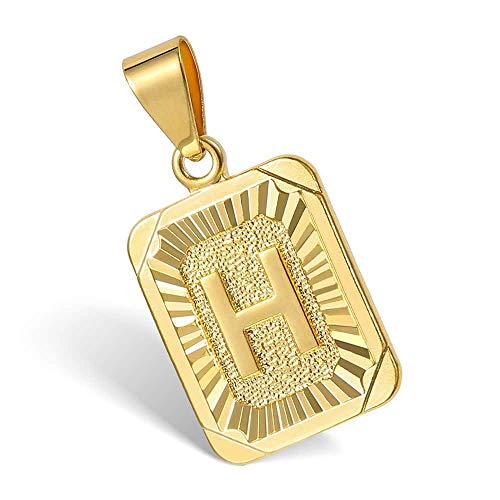 Hermah Gold Plated Charm Pendant Initital Capital Letter H Mens Womens Pendant Square Charm - Plated Silver Gold Necklace Tone