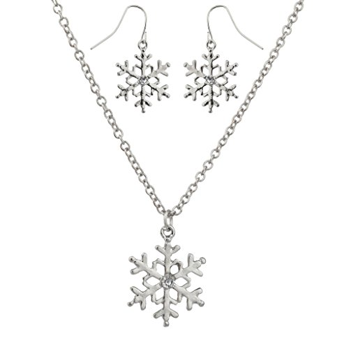 Lux Accessories Crystal Snowflake Christmas Winter Xmas Necklace Matching Earrings. (Winter Earrings Snowflake)