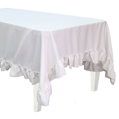 Stumps Polyester White Ruffle Tablecloth