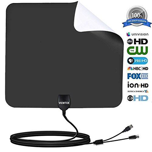 HDTV Antenna- VIEWTEK Amplified Digital Indoor TV Antennas 50 Mile Range with Amplifier, 13 Ft Copper Coaxial Cable and USB Power Supply(Black and white on both sides) (Eclipse White Crystal)