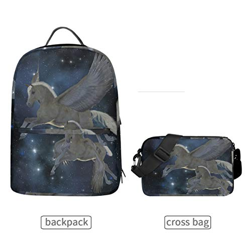 (Detachable Pegasus Backpack Crossbody Bag Men Women Travel College Casual Shoulder)
