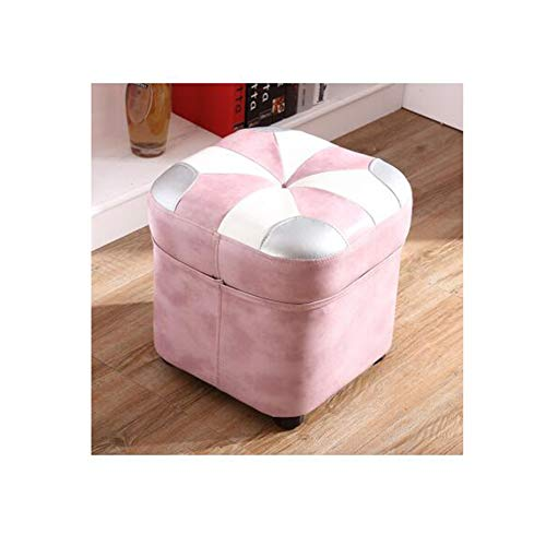 STAR-LIFE Footstool Ottoman Living Room Low Stool Square Pouffe Contrast Color Faux Leather Stool (Color : Pink)