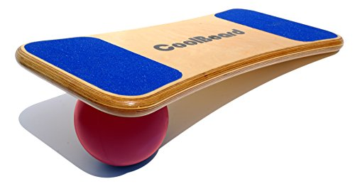CoolBoard Balance Board –The only true 3D / 360 balance & exercise training board – Medium with Quickness Speed 6 inch Pro Ball. Wobble Board, rocker board, core trainer, surf by CoolBoard