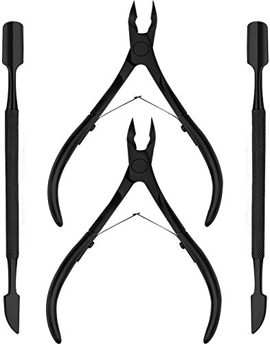 [2-Pack] Black Finish Cuticle Nipper and Cuticle Pusher - Durable Manicure, Pedicure and Beauty Tool for Ideal Fingernails and Toenails - by Utopia Care ()