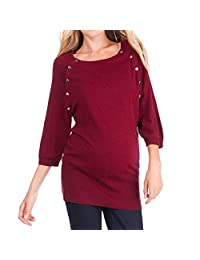 Womens Button 3/4 Sleeves Maternity Nursing Tunic Top Casual Loose Breastfeeding Clothes Blouse