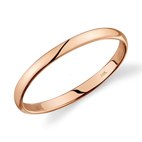 Tesori & Co 10k Rose Gold Light Comfort Fit 2mm Wedding Band Size 6