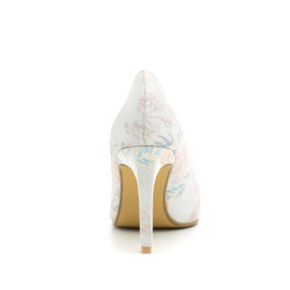 QPYC Femmes Talons hauts Pointue Fine Talon EmbroideRouge Blanche  Shallow Bouche Blanche EmbroideRouge Chaussures de demoiselle d'honneurB078MKVMYTParent 369465
