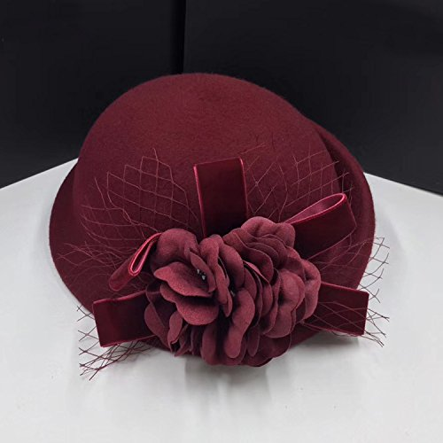 Syksdy Autumn and Winter Lady Mesh Flowers Curling Wool Hat Beret Claret