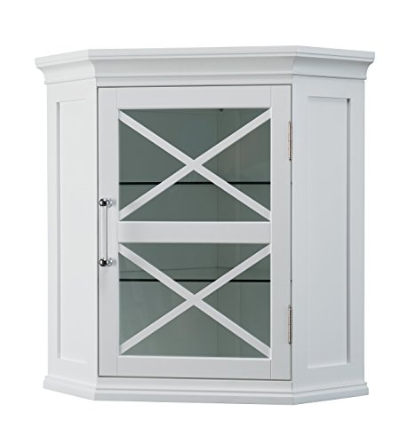 Glass Doors Corner Cabinet (Elegant Home Fashions Champ Corner Wall Cabinet)