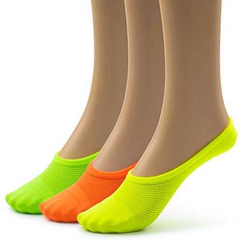 Silky Toes Nylon Mesh Soft Breathable Women's Foot Shoe Liners (9-11, Orange/Yellow/Green (3 Pairs)) (Neon Socks No Show)