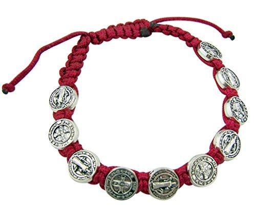 Saint St Benedict Medal on Adjustable Red Cord Bracelet, 8 -