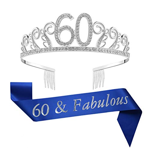 60th Birthday Tiara and Sash Blue Glitter Satin Sash Crystal Rhinestone Tiara Crown for 60th Birthday Party Supplies Favors Decorations Birthday Cake Topper