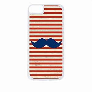 Navy Glitter Mustache on Red Nautical Stripes - Case for the Apple Iphone 6-Hard White Plastic Outer Shell