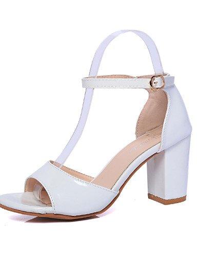 LFNLYX Zapatos de mujer-Tacón Robusto-Punta Abierta-Tacones-Exterior / Oficina y Trabajo / Casual-Semicuero-Negro / Rosa / Blanco / Plata Pink