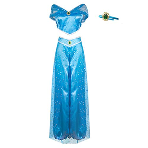 RUEWEY Womens Jasmine Princess Cosplay Belly Dance Dress Up Anime Lamp Costumes Party Adventure Outfit (L, ()