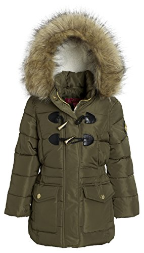 Catherine Malndrino Girls Down Alternative Winter Toggle Puffer Hood Jacket Coat - Olive (Size 10/12)