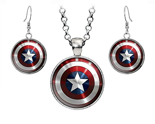 America Pendant Jewelry - Captain America Necklace, The Avengers Jewelry, Shield Pendant, Superhero Earrings Gifts Gift, Geek Geeky Present Presents