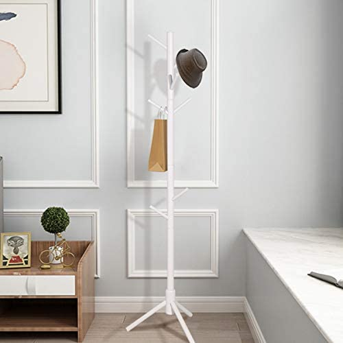Salafey Wooden Coat Rack Free Standing,8 Hooks White Coat Hat Tree Standing Hanger Tree for Coat Hats Handbags Clothes,Easy Assembly