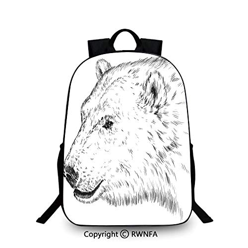 Lightweight Backpack-School Bag for Kid Girls Boys Colorful,Polar Bear Profile Engraved Ink Drawing Grizzly Furry Wildlife in North Zoo Decorative Plain Bookbag Travel Daypack Charcoal Grey White ()