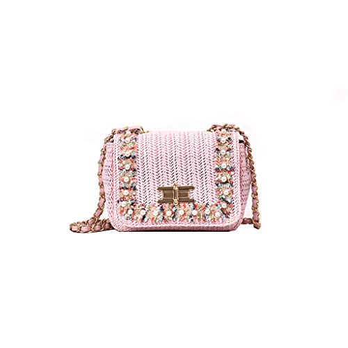 Women's Woven Satchel Straw Pearls Fabric Applique Inlaid Edge Messenger Bag Twist Lock Opening Shoulder Crossbody Bag
