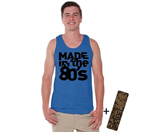Awkwardstyles Men's Made In the 80s Tank Top Humor Vintage Tank + Bookmark S Blue (2)