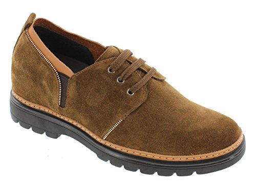 H03053 Shoes TOTO inches Suede Leather up Elevator Shoes 8 Lace Taller Height Casual Khaki Increasing 2 a1F1fnq8