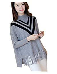 Women's Sweater with Tassels Loose Pullover Knitwear Jumper Poncho Coat