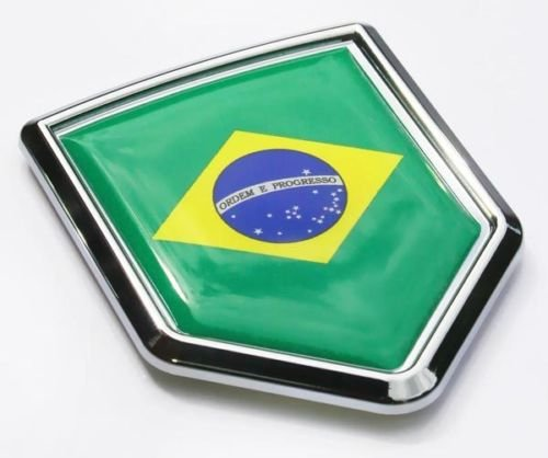Car Chrome Decals CBSHD030 Brazil Flag Car Brazilian Emblem Chrome 3D Decal Sticker (Brazil Flag Car)