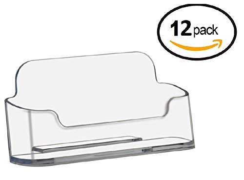 Desktop Brands (T'z Tagz Brand 12 Pack - Clear Or Black Plastic Business Card Holder Display (Style B 12 Pack, Clear))
