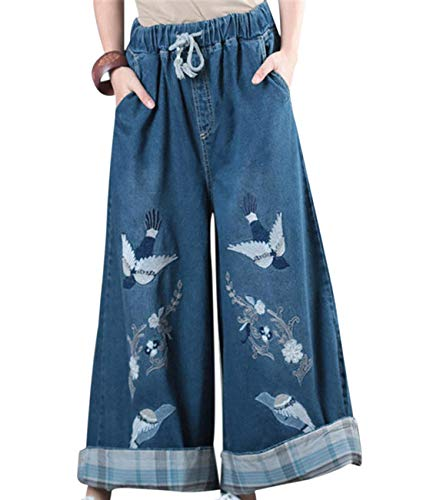 YESNO Women Fashion Casual Loose Embroidered Flower Jeans Wide Leg Flared Pants Skirts with Pockets - PJA (L, PJA Dark Blue)